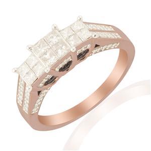 White Diamond Ring in 9k Rose Gold 1ct