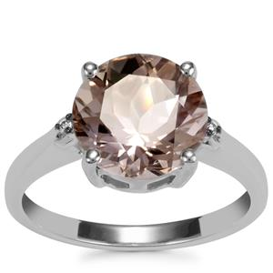 Bolivian Natural Champagne Quartz Ring with Champagne Diamond in Sterling Silver 3.23cts