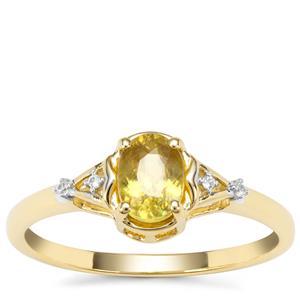 Ambilobe Sphene Ring with White Zircon in 9K Gold 0.73ct