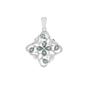 Natural Umba Sapphire Pendant with White Zircon in Sterling Silver 1.64cts
