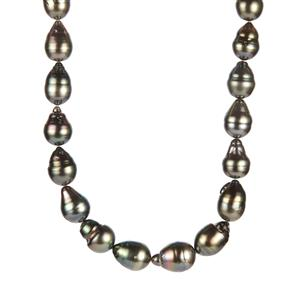 Tahitian Cultured Pearl Sterling Silver Necklace (13x10mm)