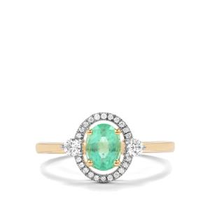 Ethiopian Emerald Ring with Diamond in 18K Gold 0.96cts
