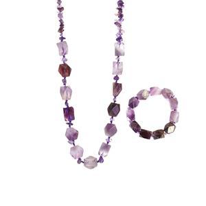 705.50ct Zambian Amethyst Necklace & Bracelet Set