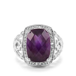 Zambian Amethyst & White Topaz Sterling Silver Ring ATGW 7.49cts