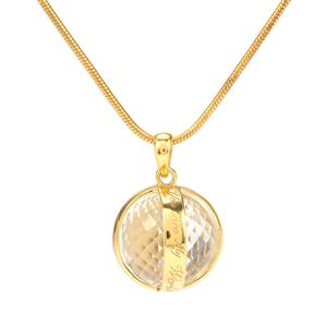 'You Are My World' Optic Quartz Locket with Chain in Vermeil 34.96cts
