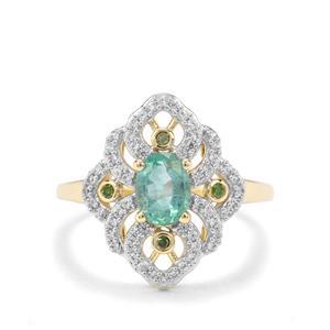 Zambian Emerald, Green Diamond & White Zircon 9K Gold Ring ATGW 1.10cts