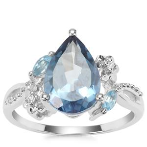 Santa Maria Topaz, Swiss Blue Topaz Ring with White Zircon in Sterling Silver 3.67cts