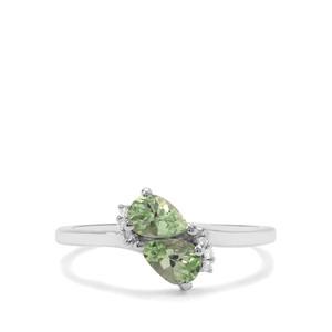 Tsavorite Garnet & Diamond 9K White Gold Ring ATGW 0.90ct