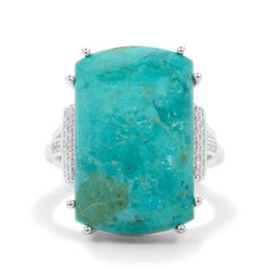 Cochise Turquoise Ring with White Zircon in Sterling Silver 14.55cts