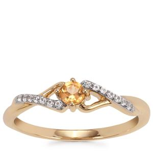 Ceylon Imperial Garnet Ring with White Zircon in 9K Gold 0.35cts