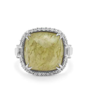 Grossular Ring with White Zircon in Sterling Silver 14.85cts