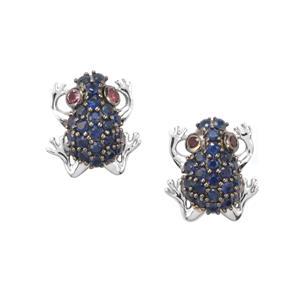 Rhodolite Garnet Earrings with Thai Sapphire in Sterling Silver 0.58ct