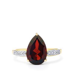 Rajasthan Garnet & White Zircon 10K Gold Ring ATGW 3.24cts