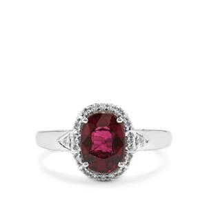 Comeria Garnet Ring with Diamond in 18K White Gold 2.46cts