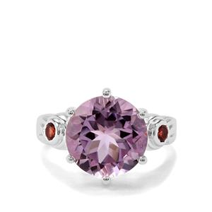 Rose De France Amethyst & Rajasthan Garnet Sterling Silver Ring ATGW 6.30cts