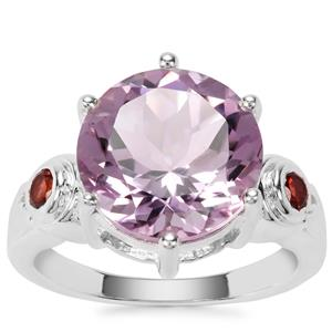 Rose De France Amethyst Ring with Rajasthan Garnet in Sterling Silver 6.30cts