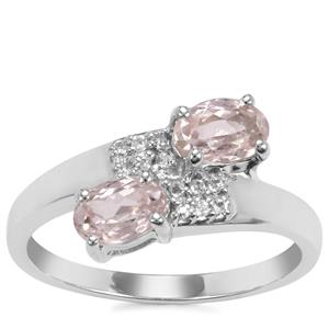 Ice Kunzite Ring with White Topaz in Sterling Silver 1.36cts
