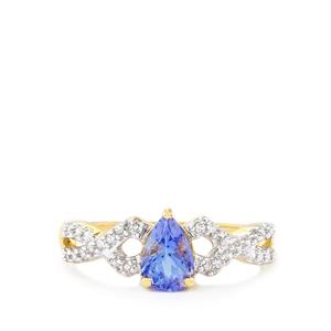 AA Tanzanite Ring with White Zircon in 10K Gold 0.90cts