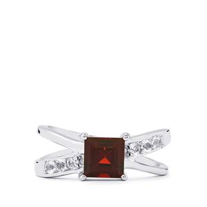 Mozambique Garnet Ring with White Topaz in Sterling Silver 1.56cts