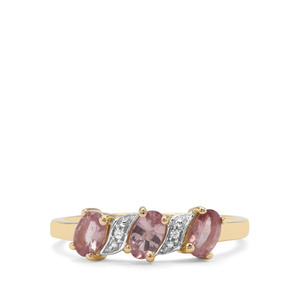 Natural Purple Pink Spinel & White Zircon 9K Gold Ring ATGW 0.80cts