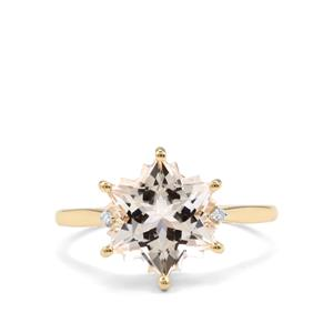 White Topaz Wobito Snowflake Ring with Diamond in 9K Gold 5.52cts