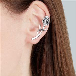 Black Spinel Cuff Earrings with White Topaz in Sterling Silver 1.76cts