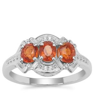 Mandarin Garnet Ring with White Zircon in Sterling Silver 2.18cts