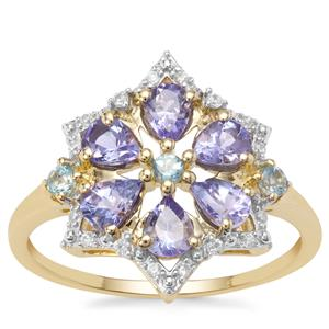 AA Tanzanite Ring with London Blue Topaz & White Zircon in 9K Gold 1.04cts