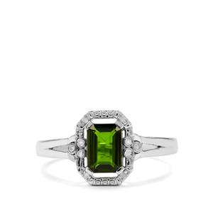 Chrome Diopside & Diamond Sterling Silver Ring ATGW 1.04cts