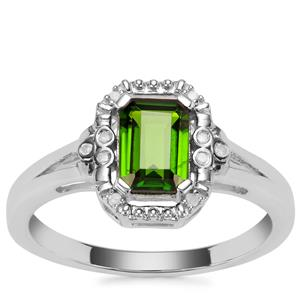 Chrome Diopside Ring with Diamond in Sterling Silver 1.04cts