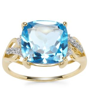 Swiss Blue Topaz Ring with White Zircon in 9K Gold 7.17cts