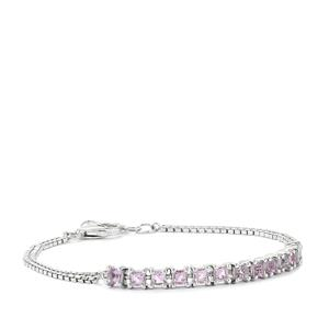1.66ct Rose De France Amethyst Sterling Silver Bracelet z