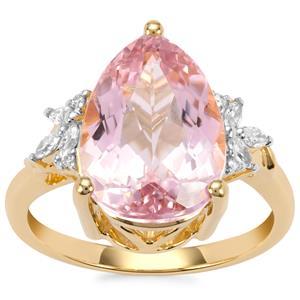 Minas Gerais Kunzite Ring with Diamond in 18K Gold 6.43cts