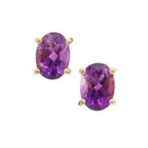 Moroccan Amethyst Earrings in Gold Plated Sterling Silver 1.54cts