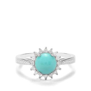 Sleeping Beauty Turquoise & White Zircon Sterling Silver Ring ATGW 1.41cts