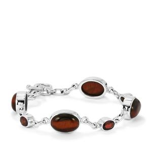 Red Tiger's Eye Bracelet with Red Garnet in Sterling Silver 31cts