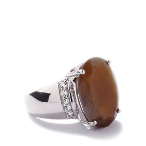 Shinyanga Sunstone & White Topaz Sterling Silver Ring ATGW 15.55cts