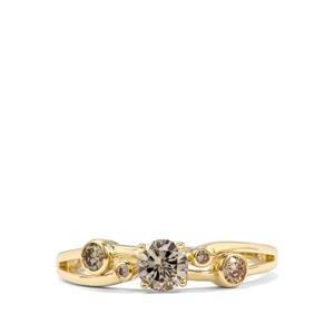Natural Coloured Diamond Ring with White Diamond in 10K Gold 0.56ct