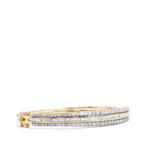 3.10ct Diamond 10K Gold Oval Bangle