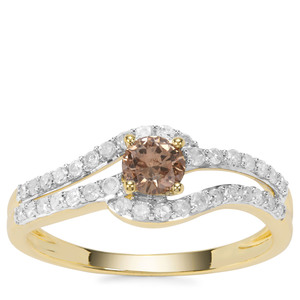 Champagne Diamond Ring with White Diamond in 9K Gold 0.57ct