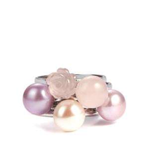 Rose Quartz, Kaori, Pink & Purple Cultured Pearl Sterling Silver Set of 5 Rings