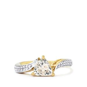 Zambezia Morganite Ring with White Topaz in Gold Plated Sterling Silver 1.10cts