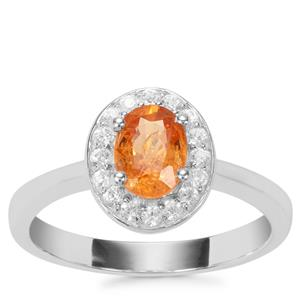 Mandarin Garnet Ring with White Zircon in Sterling Silver 1.32cts