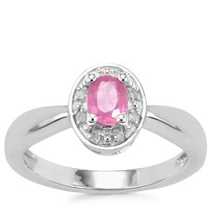 Ilakaka Hot Pink Sapphire Ring with Diamond in Sterling Silver 0.55cts (F)