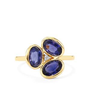 Bengal Iolite & Diamond 9K Gold Ring ATGW 1.95cts