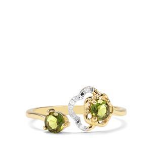 Chrome Tourmaline & Diamond 9K Gold Ring  ATGW 0.49cts