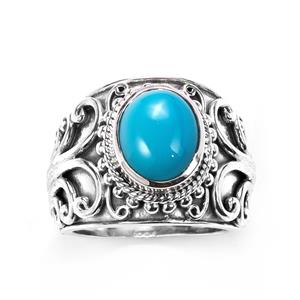 Samuel B Sleeping Beauty Turquoise Ring in Sterling Silver 2cts
