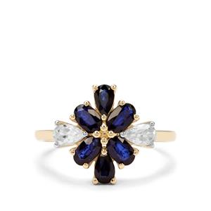 Sri Lankan Sapphire & White Zircon 9K Gold Ring ATGW 2.12cts
