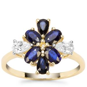 Sri Lankan Sapphire Ring with White Zircon in 9K Gold 2.12cts