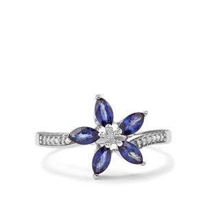 Sri Lankan Sapphire & Diamond 9K White Gold Ring ATGW 1.03cts